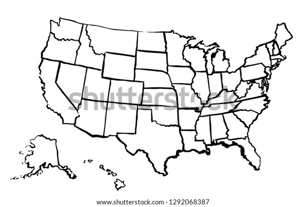 Map Of America Drawing.United States America Drawing Linear Map Stock Vector Royalty Free