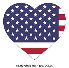 united states of america flag in heart vector illustration sign. Flag of united states of america in the shape of Heart with contrasting contour, symbol of love for his country or valentine day,