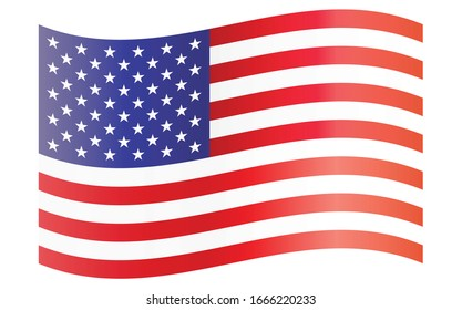United States of America flag on white background.