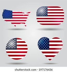 United States of America flag set in map, oval, circular and heart shape.
