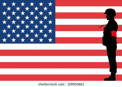 The United States of America flag and the silhouette of a soldier with Red Arm Band