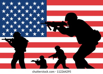 The United States of America flag and the silhouette of soldiers