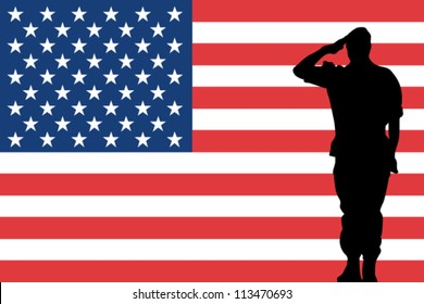 The United States of America flag and the silhouette of a soldier saluting