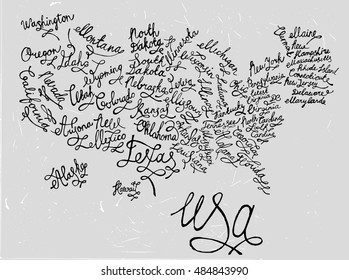 United States of America hand drawn map. Editable vector illustration. Geographical concept in hand written style on a textured background. Ink drawing concept.