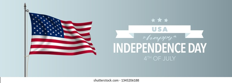 United states of America happy independence day greeting card, banner vector illustration. USA national holiday 4th of July design element with American waving flag on flagpole
