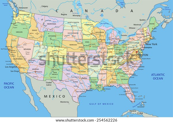United States America Highly Detailed Editable Stock ...