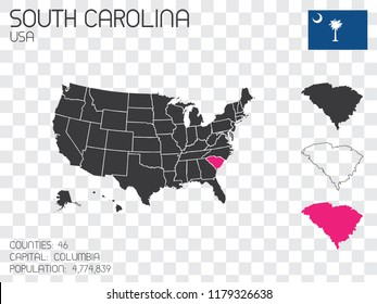 A United States of America Illustration with the Selected State of South Carolina
