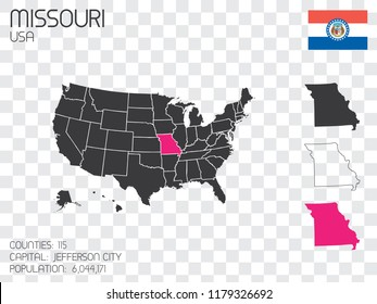 A United States of America Illustration with the Selected State of Missouri