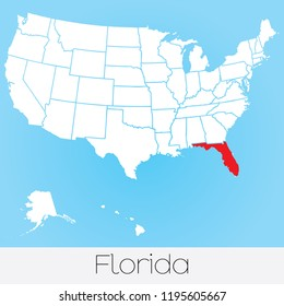 A United States of America Illustration with the Selected State of Florida