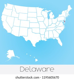 A United States of America Illustration with the Selected State of Delaware