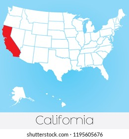 A United States of America Illustration with the Selected State of California