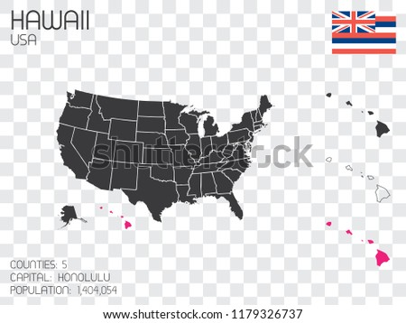 A United States of America Illustration with the Selected State of Hawaii