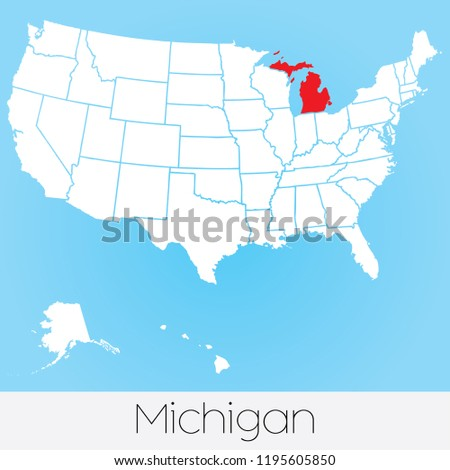 A United States of America Illustration with the Selected State of Michigan