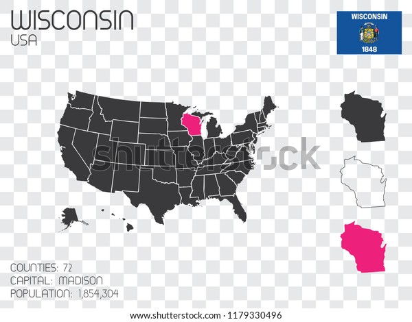 A United States of America Illustration with the Selected State of Wisconsin