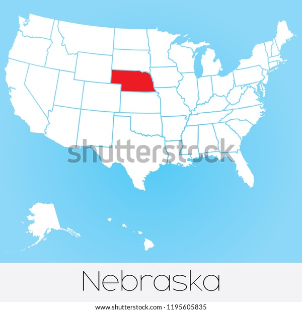 A United States of America Illustration with the Selected State of Nebraska
