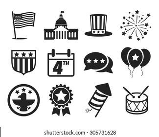 United States of America Independence Day icon set // 4 July // Black & White
