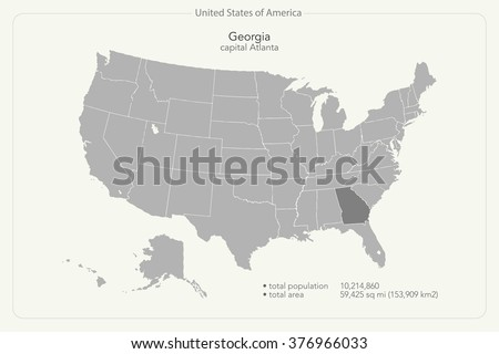 Map Of Georgia United States.United States America Isolated Map Georgia Stock Vector Royalty