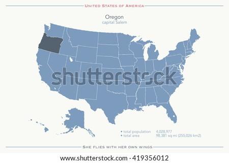 United States Map Oregon.United States America Isolated Map Oregon Stock Vector Royalty Free