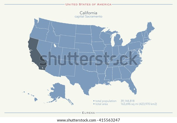 United States America Isolated Map California Stock Vector ...