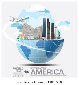 United States Of America Landmark Global Travel And Journey Infographic Vector Design Template