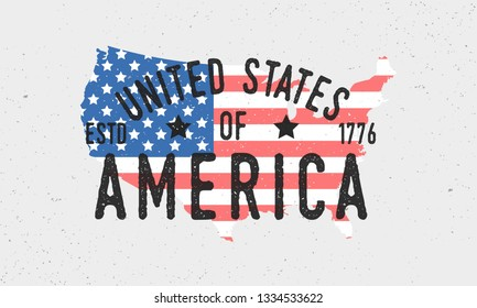 United States of America logo, emblem, label. Poster map of USA. Print for T-shirt, typography. American vintage design. Vector USA flag map.