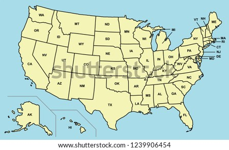 United States America Map 50 States Stock Vector Royalty Free