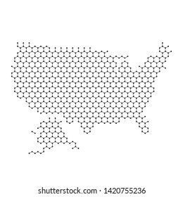United States of America map from abstract futuristic hexagonal shapes, lines, points black, in the form of honeycomb or molecular structure. Vector illustration.