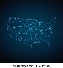 United States of America Map - Abstract geometric mesh polygonal network line, structure and point scales on dark background with lights in the form of cities. Vector illustration eps 10.