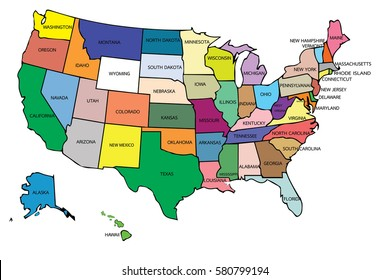 Color Map United States America On Stock Illustration 67753627 ...