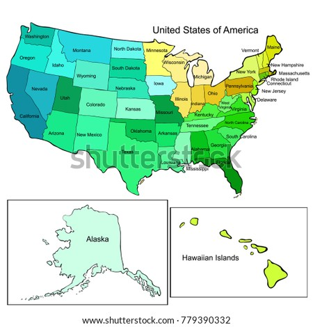 United States America Map Color Vector Stock Vector (Royalty Free ...