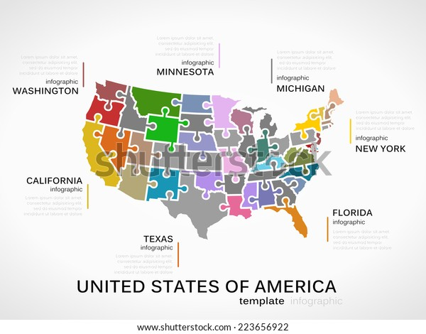 united states map infographic United States America Map Concept Infographic Stock Vector