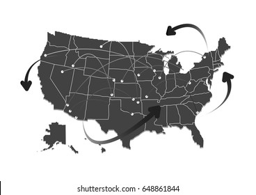 United states of america map design. Vector Illustration