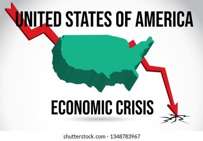 United States of America Map Financial Crisis Economic Collapse Market Crash Global Meltdown Vector Illustration.