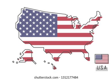 United States of America map and flag . Modern simple line cartoon design . Vector .