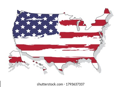 United states of America map with flag. North America. Vector illustration on white background