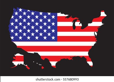 United States of America Map with Flag Vector, USA Map Vector.