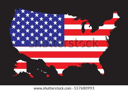 United States America Map Flag Vector Stock Vector Royalty Free