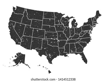 United states of america map . Grunge style . Vector .