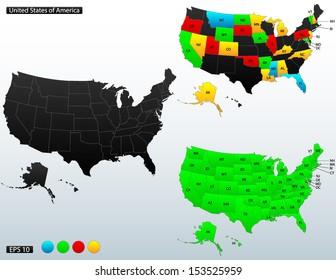 United States of America map, with internal boundaries and state names initials included, fully editable, vector