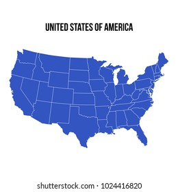 United States Of America map isolated on white background. USA vector illustration. Blue color territory print. Country poster with states for travel materials.