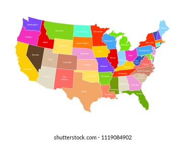 United States Of America map isolated on white background. USA vector illustration. Colorful territory print with text. Country poster with limit for travel materials.