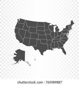 United States America Map Isolated On Stock Vector Royalty Free
