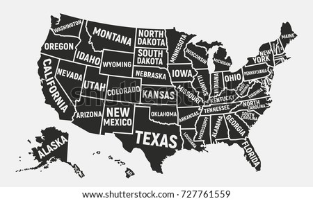 States Of America On Map.United States America Map Poster Map Stock Vector Royalty Free