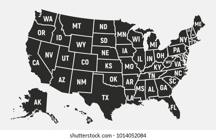 United States of America map with short state names. USA background. Vector illustration