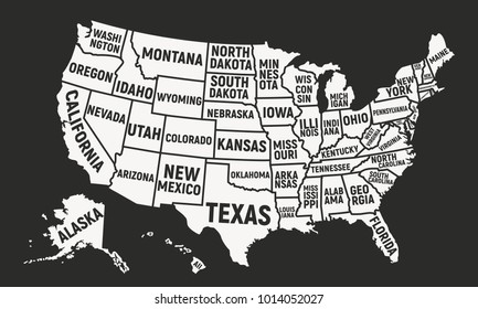 Usa Map with State Names Images, Stock Photos & Vectors ...