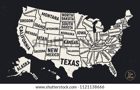 Usa Map With States Black And White.United States America Map State Names Stock Vector Royalty Free