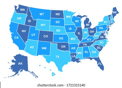 United States of America map. USA map with states and state names isolated – stock vector