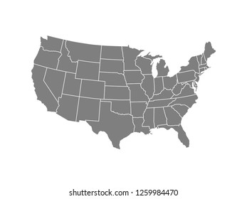 United States America Map Vector. Map Of USA