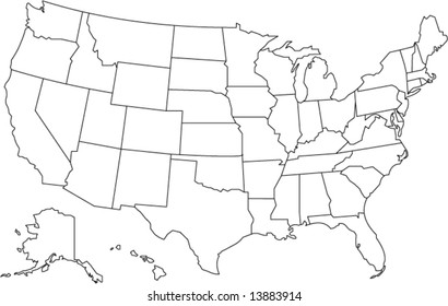 united states of america map in vector design