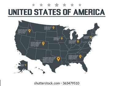United States of America Map, vector illustration